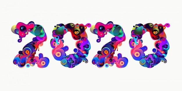 Новый год 2020 красочные каракули письмо типография