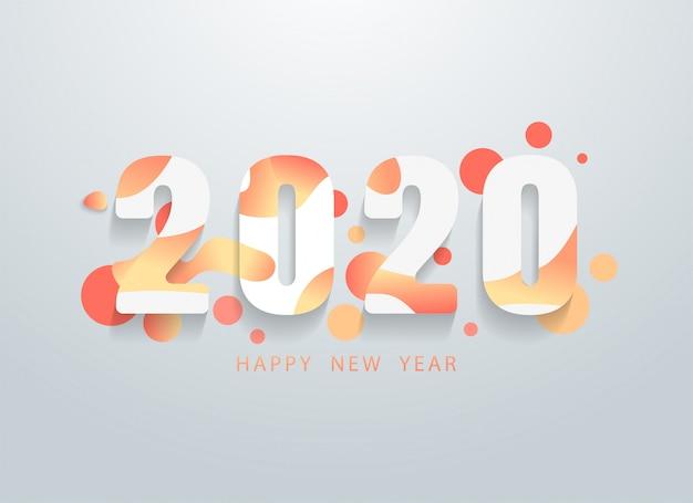 カラフルな幾何学的図形の背景を持つ幸せな2020年
