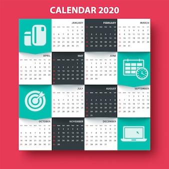カレンダー2020年。ビジネステンプレート