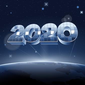 惑星地球の上のスペースに数字2020をミラーします。
