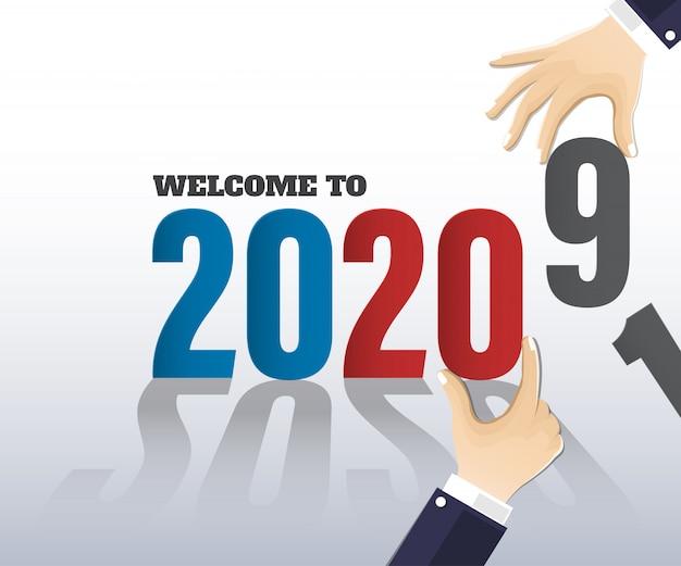 明けましておめでとう2020年。グリーティングカード。抽象