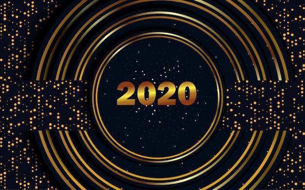現代の幸せな新年2020キラキラ花火テンプレート