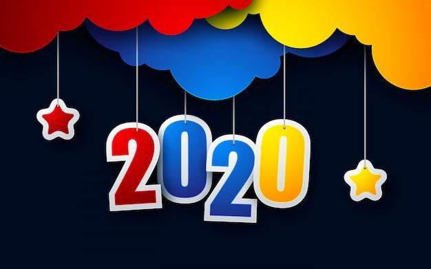 С новым годом 2020 бумаги вырезать стиль фона
