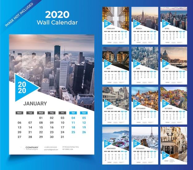 2020年テンプレートの壁掛けカレンダー