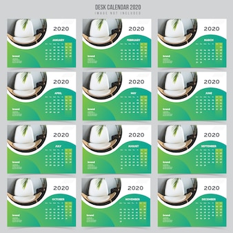 インテリア卓上カレンダー2020テンプレート