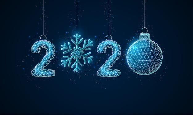 抽象的な低ポリハッピー2020年新年背景