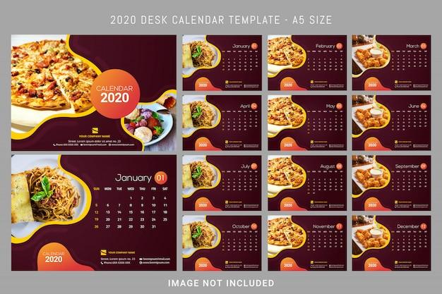 卓上カレンダー2020テンプレート