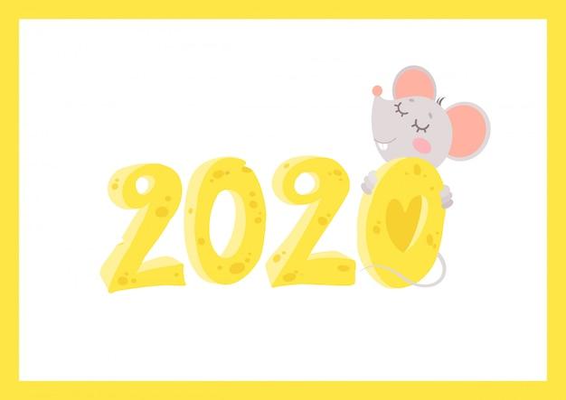 Новый год 2020 плоский вектор открытка с мышью шаблон