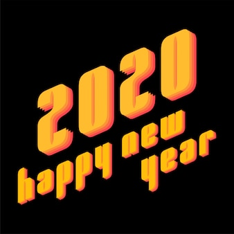 プリントカードのモダンなスタイルで2020年新年あけましておめでとうございますテキスト