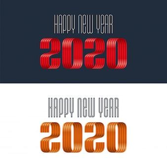 2020新年あけましておめでとうございますリボンレタリングバナー