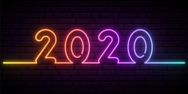 2020 новый год неоновый эффект.
