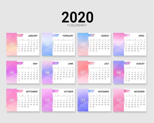 2020カレンダーテンプレート、印刷準備完了