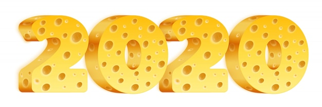 Цифры 2020 года с текстурой сыра.