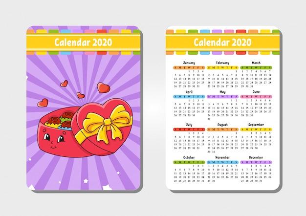 かわいいキャラクターの2020年のカレンダー。ポケットサイズ。