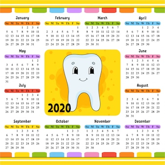 かわいい歯を持つ2020年のカレンダー。