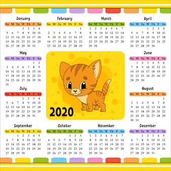 Календарь на 2020 год с милым персонажем.