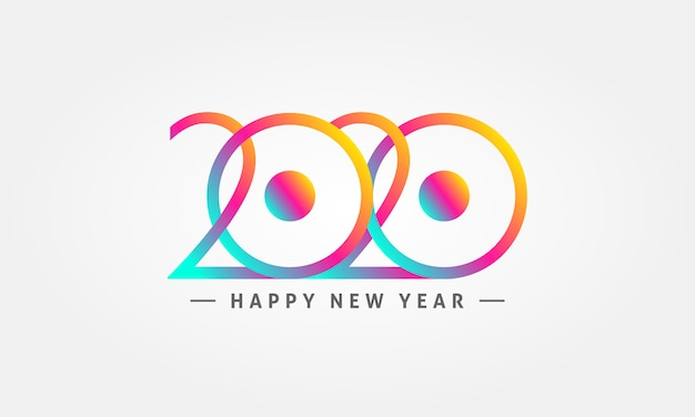 2020 с новым годом красочный логотип