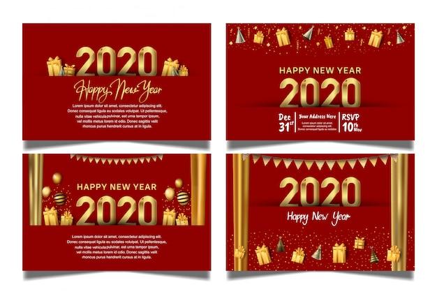 Счастливый новый год 2020 красный фон с подвесным шаром, подарочной коробкой, воздушным шаром и блестками