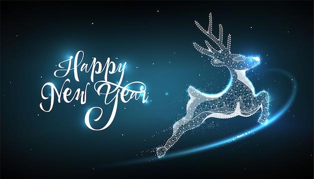 新年あけましておめでとうございます2020。スタイルの低ポリワイヤフレームの鹿