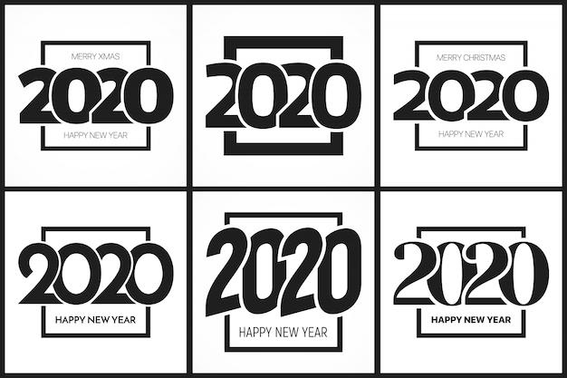 2020新年あけましておめでとうございますタイポグラフィテンプレートセット