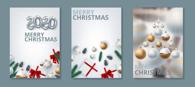 新年あけましておめでとうございます2020とメリークリスマスのグリーティングカード。