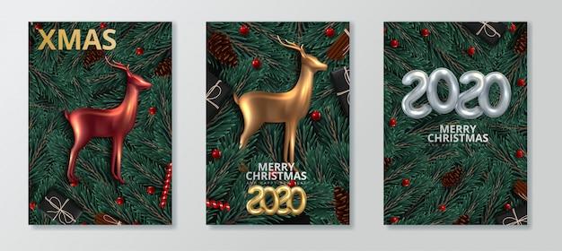 新年あけましておめでとうございます2020とメリークリスマスのグリーティングカードセット