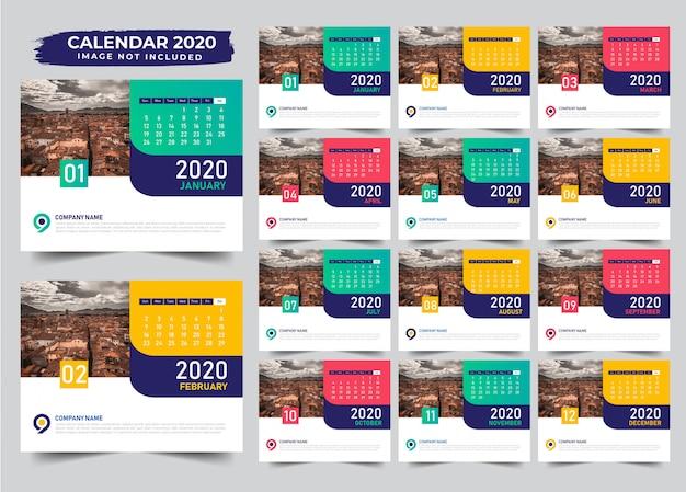複数色の卓上カレンダーテンプレートデザイン2020