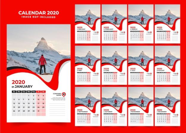赤い壁のカレンダーデザインテンプレート2020