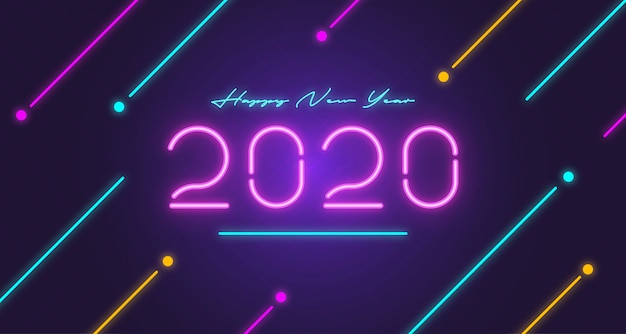 新年2020ネオングローグリーティングカード
