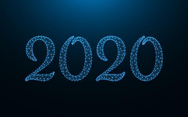 新年2020年デザイン、ワイヤフレームメッシュ多角形のベクトル図