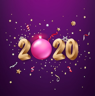 現実的な2020年の黄金の数字、お祝いの紙吹雪、星など。