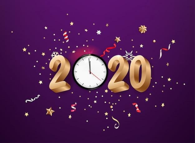 リアルな2020年の黄金の数字と時計とお祝い紙吹雪