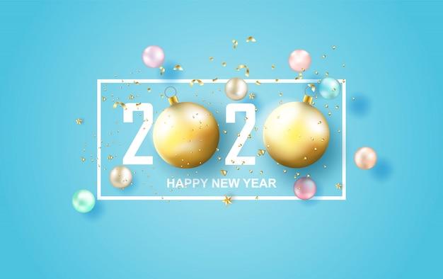2020新年あけましておめでとうございますラベルデザインのイラスト。