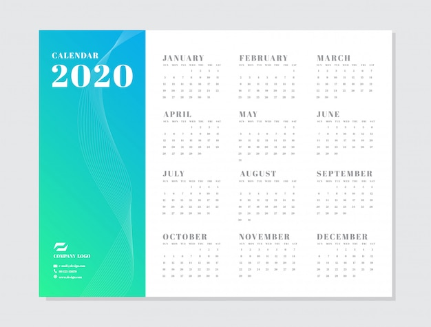 Календарь 2020 года начинается с недели шаблона в воскресенье.