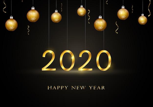ゴールドテキストで2020年新年あけましておめでとうございますグリーティングカード。