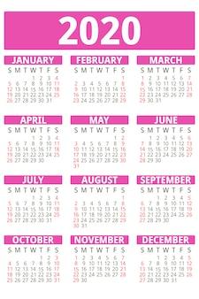 ピンクカレンダー2020年、フラットスタイル