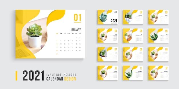 2021年の卓上カレンダー、きれいで最小限の卓上カレンダーデザイン2021