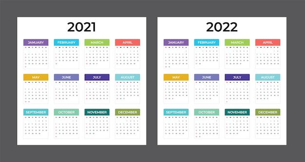 2021-2022 달력 - 그림입니다. 주형. 조롱. 다채로운 벡터 달력