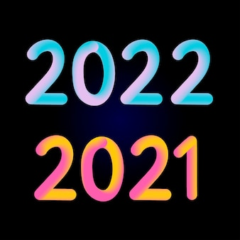 2021 and 2022 text design