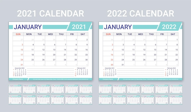 2021 2022 year calendars. planner template with 12 month. vector illustration.