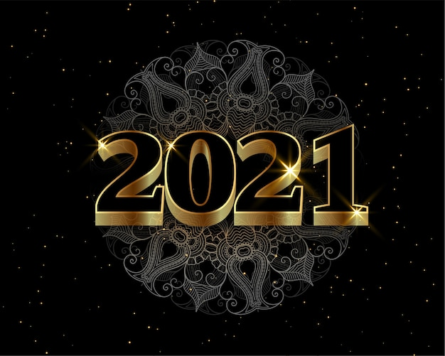 2021 black and gold happy new year decorative background