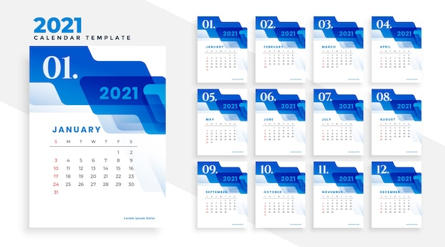 2021 blue business calendar template with abstract shapes