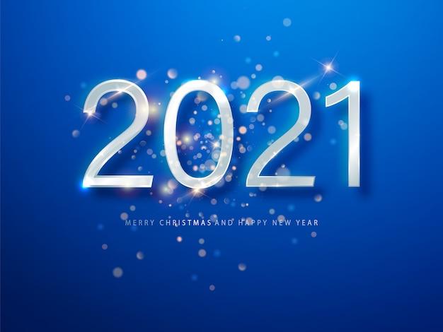 2021年のブルークリスマス、新年の背景。新年あけましておめでとうございます2021年のグリーティングカードまたはポスター。ウェブのイラスト。
