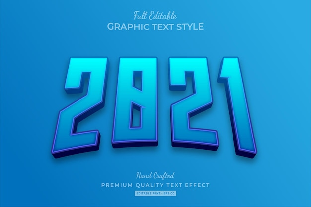 2021 blue editable text effect font style