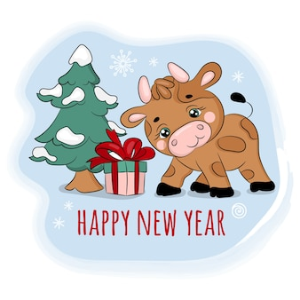 2021 бык нашел подарок новый год с рождеством мультфильм праздник каникулы симпатичные животные картинки