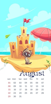 2021 calendar august. funny cartoon cat on the sand