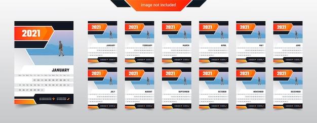 Дизайн календаря 2021 года. начало недели с понедельника