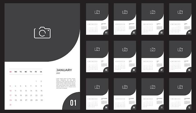 2021年カレンダー-イラスト。レンプレート。モックアップウィークは日曜日に始まります