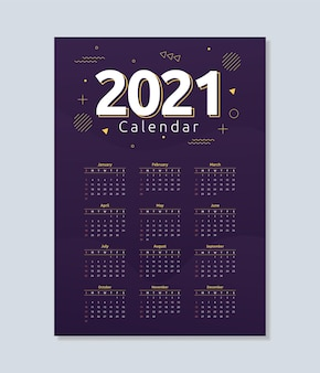 2021 calendar template in abstract geometric style