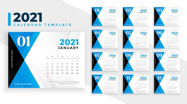 2021 calendar template in blue abstract shapes style